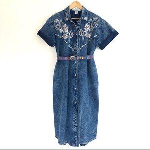 Vintage 80's Embellished Acid Wash Denim Dress